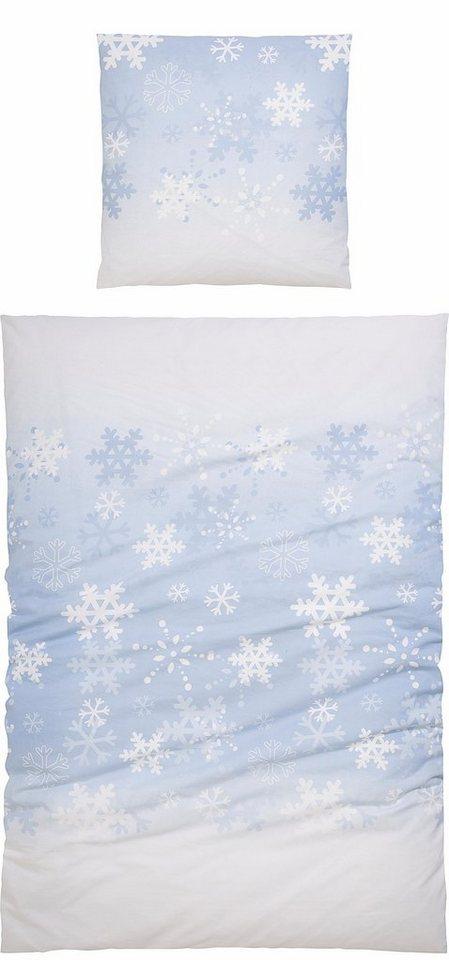 Bettwäsche, Casatex, »Blanca«, mit Schneeflocken-Design in blau-weß