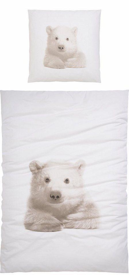 Bettwäsche, Casatex, »Kleiner Eisbär«, mit Eisbär bedruckt in weiß