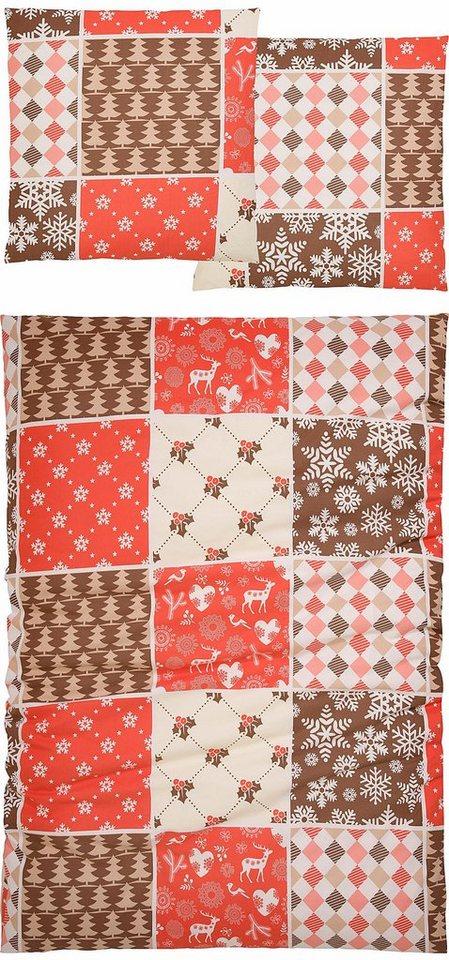 Bettwäsche, Casatex, »Jule«, im Patchwork-Design in rot-beige