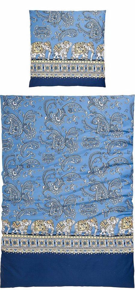 Bettwäsche, Casatex, »Barrito«, mit Elefanten-Design in royalblau