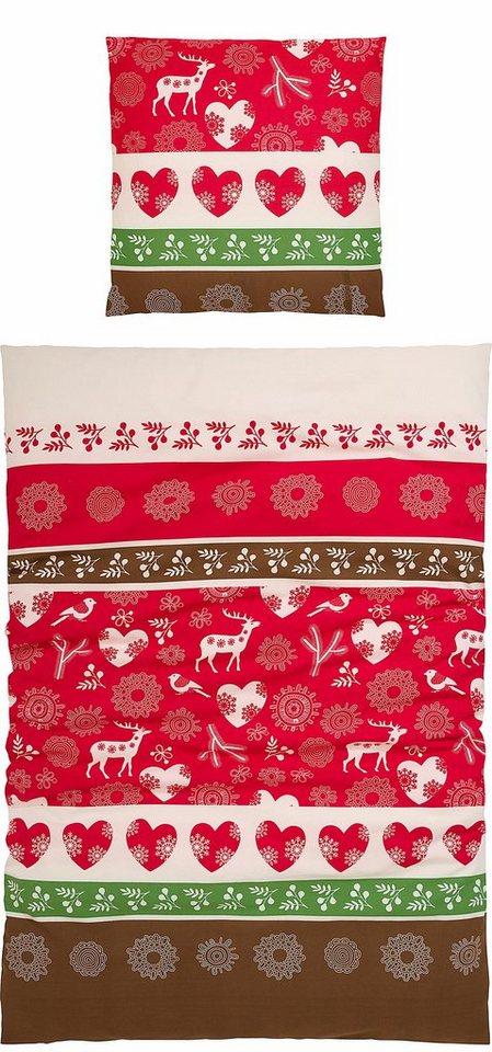 Bettwäsche, Casatex, »Jonas«, mit winterlichem Charme in rot