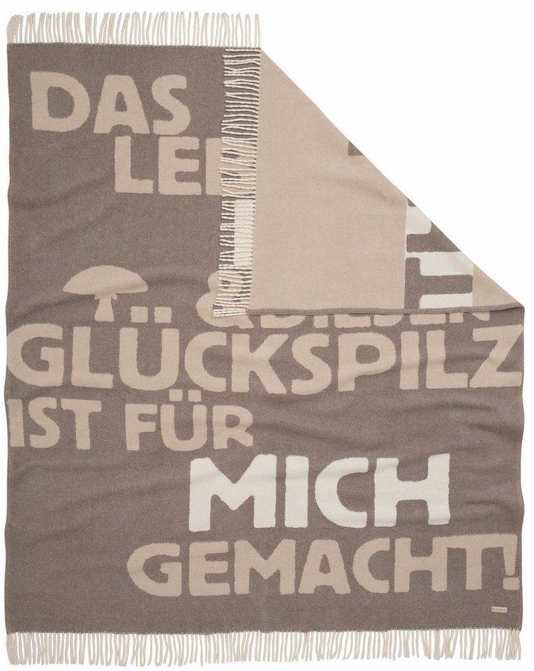 Decke, Adelheid, »Glückspilz mit Spruch«, mit Botschaft bedruckt in taupe