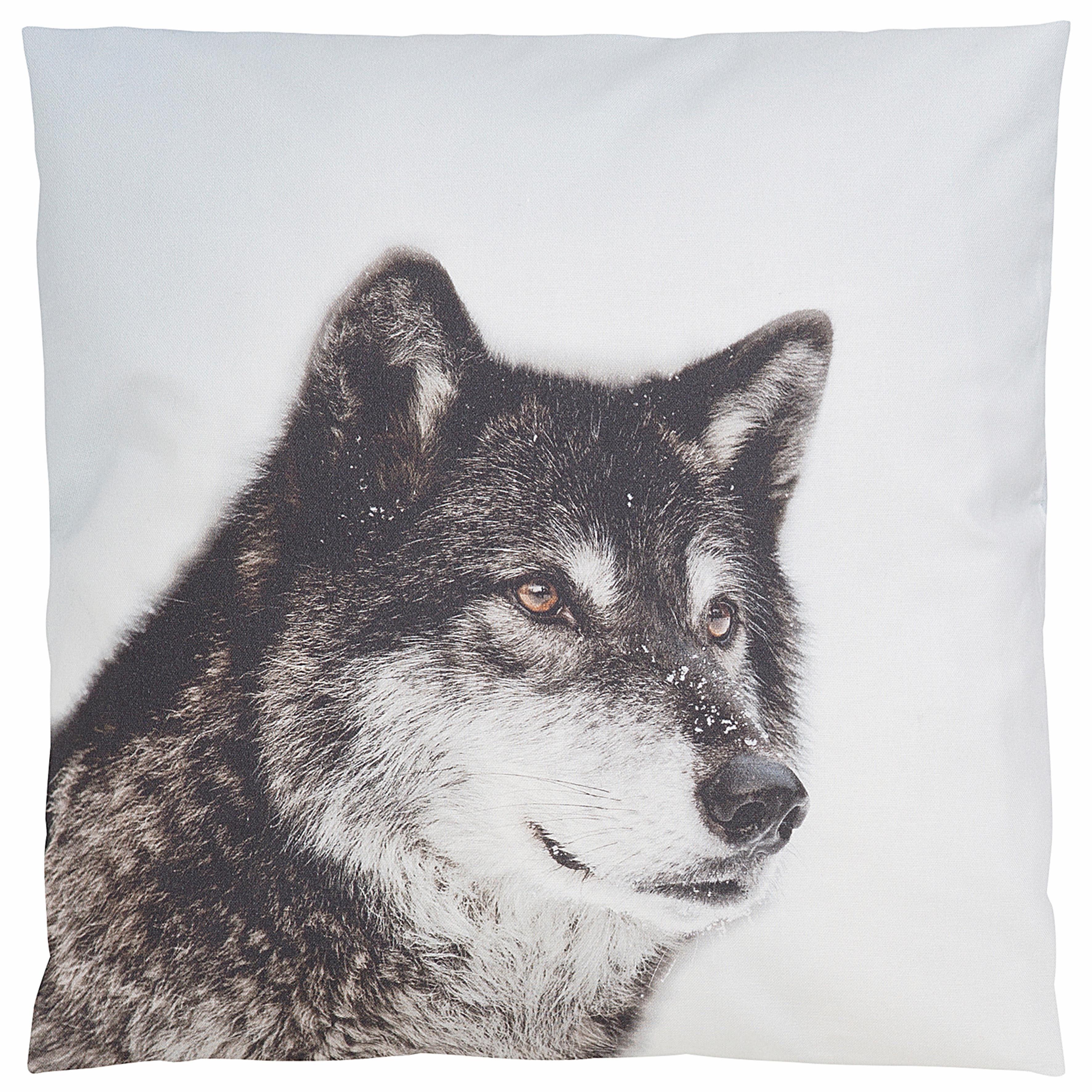 Kissenbezug, Casatex, »Wolf im Winter«, mit Tiermotiv