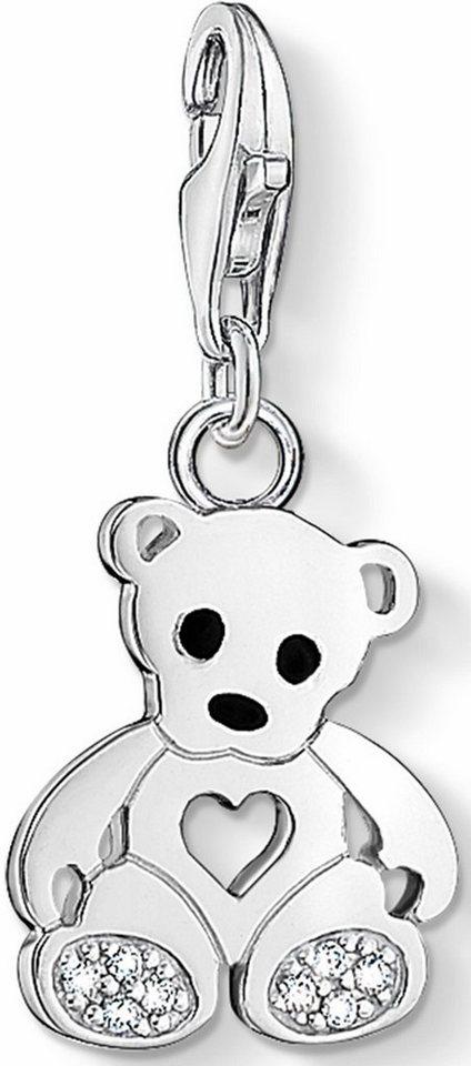 Thomas Sabo Charm-Einhänger »Teddybär, 1119-041-14« mit Zirkonia in Silber 925-schwarz