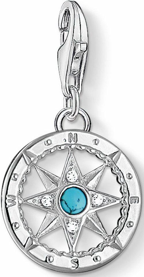 Thomas Sabo Charm-Einhänger »Kompass, 1228-405-17« mit Zirkonia und Türkis in Silber 925