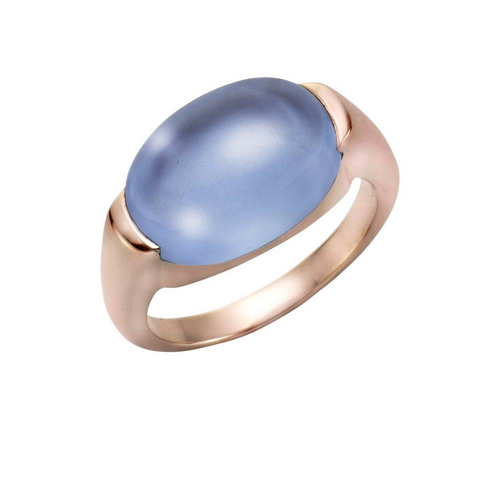 Jamelli Ring »925/- Sterling Silber rotvergoldet mit Quarz« in rot