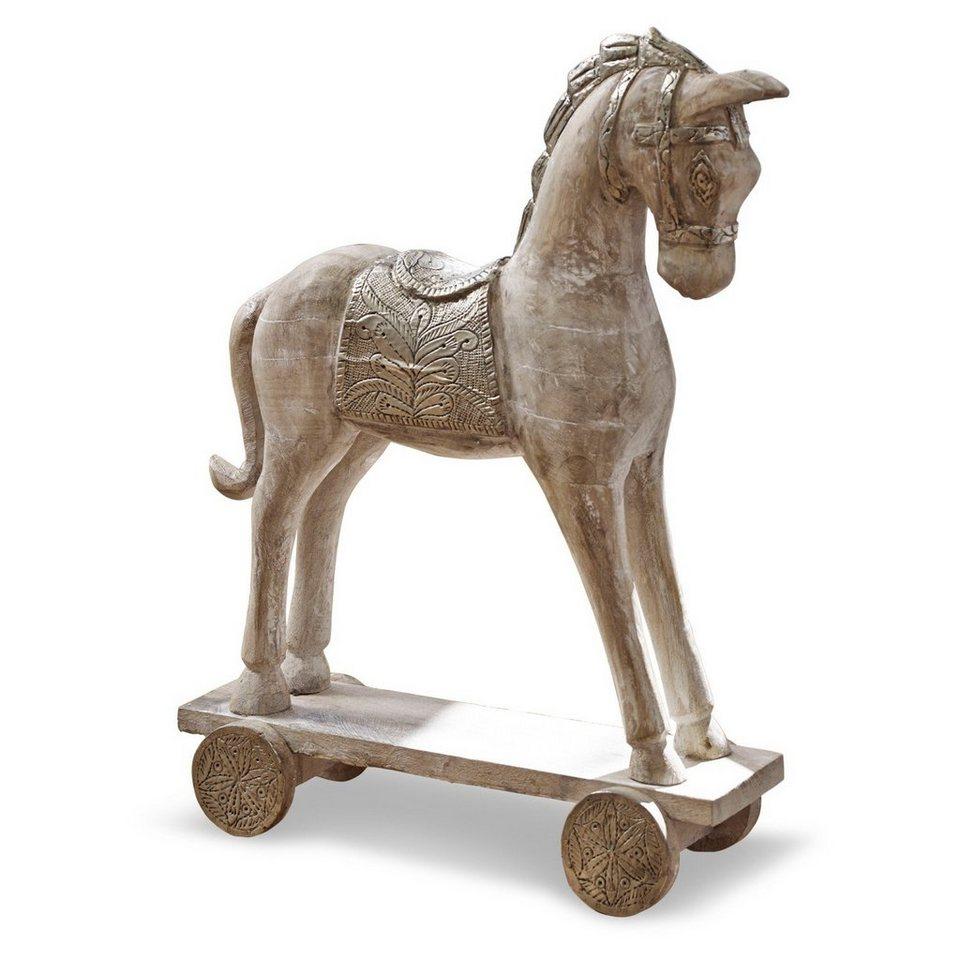 Loberon Deko-Pferd »Hennes« in antikbraun/weiß