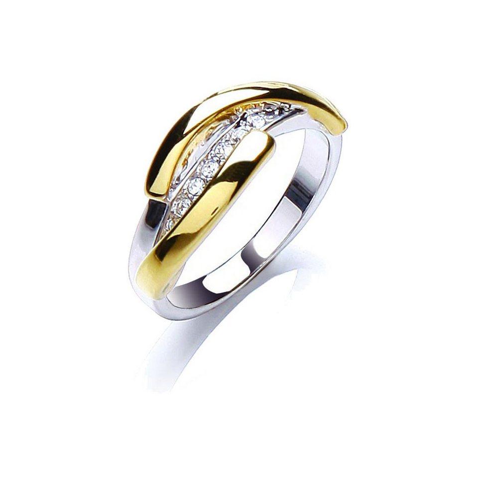 Buckley London Ring »rhodiniert und vergoldet mit Kristallen« in Silbergrau