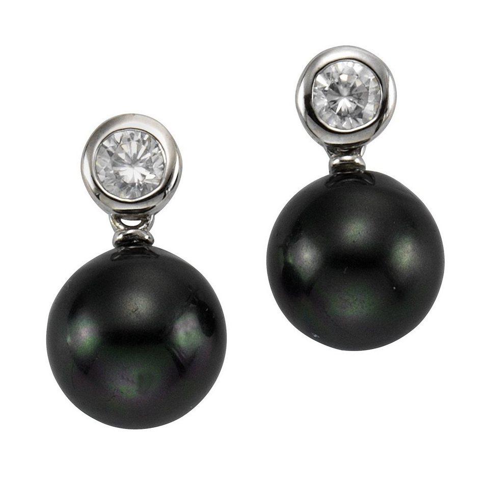 Zeeme Ohrstecker »925/- Sterling Silber Perle schwarz« in weiß