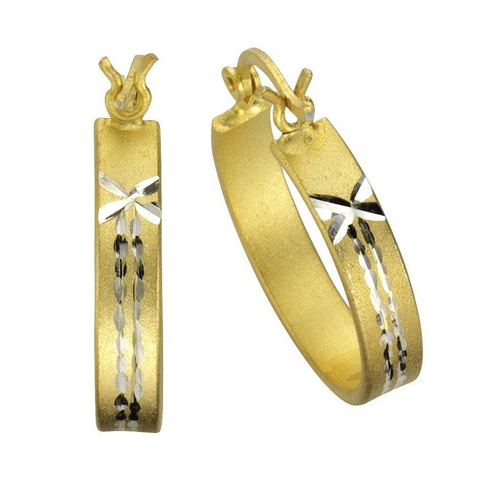 Zeeme Creolen »925/- Sterling Silber mattiert« in gelb