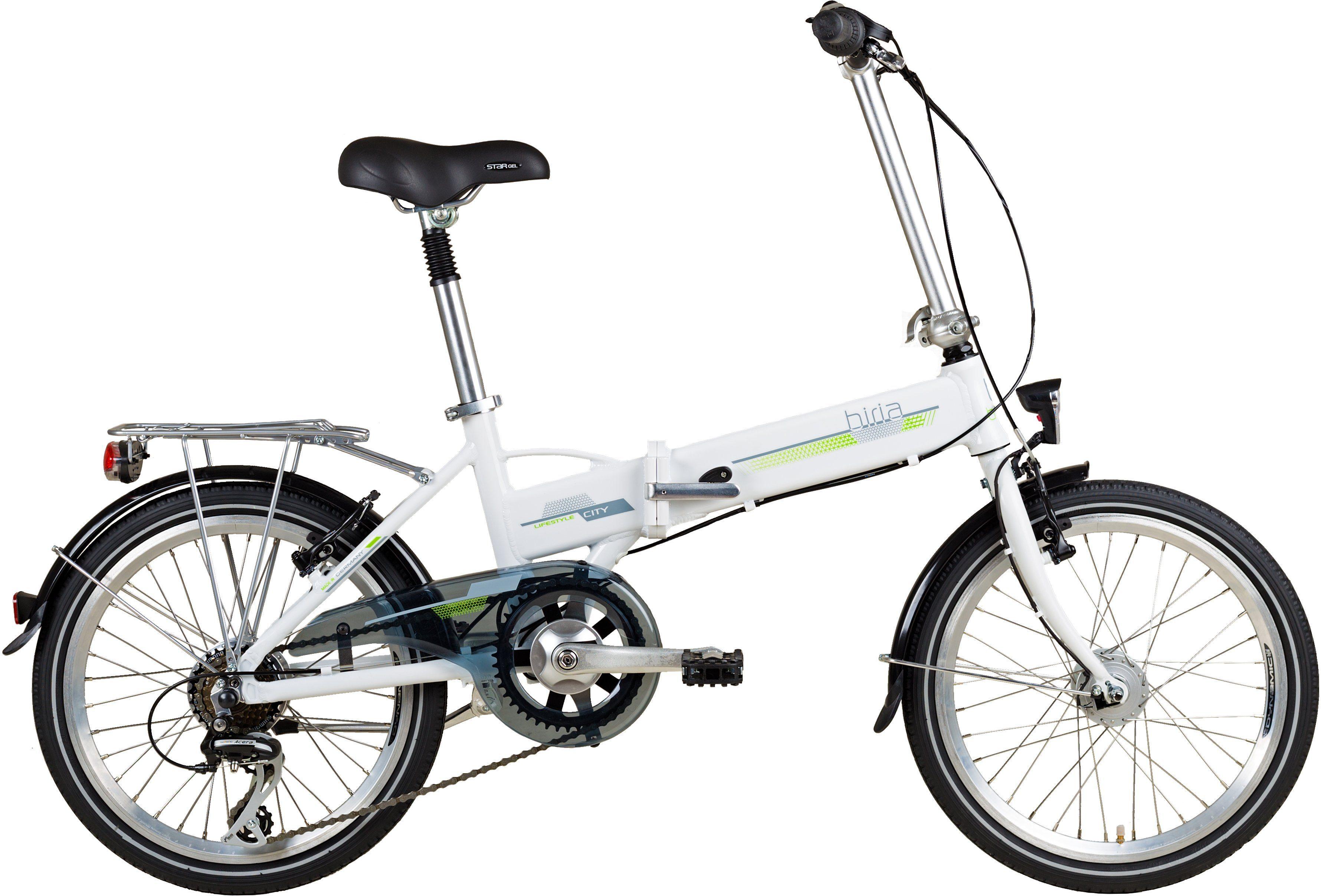 Biria E-Bike Faltrad, 20 Zoll, 6-Gang Shimano Acera, V-Brake, Hinterradmotor 250 W, 24V/ 7Ah