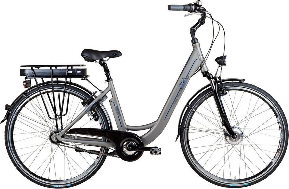 Biria E-Bike City, 28 Zoll, 7-Gg. Shimano Nexus, V-Brake, Vorderradm. 250 W, 36V/ 11Ah in hellgrau seidenmatt