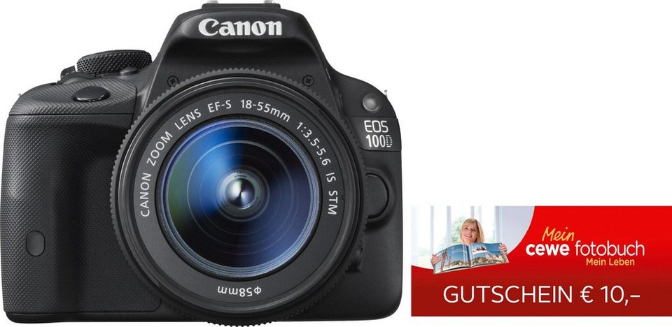 Canon EOS 100D 18-55IS STM & 10 € CEWE-Gutschein Spiegelreflex Kamera in schwarz