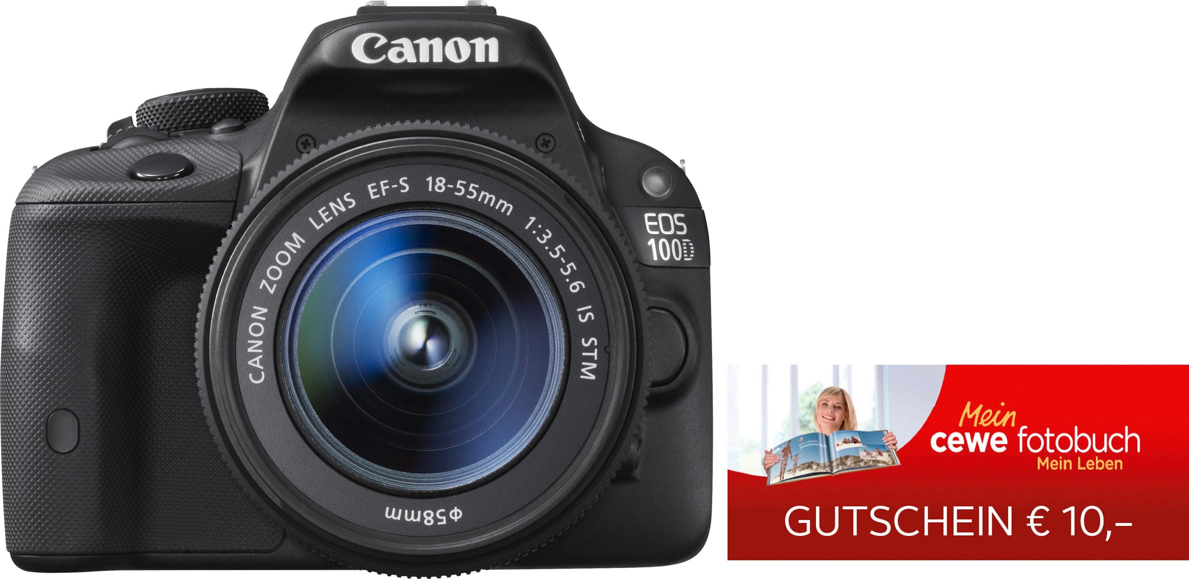 Canon EOS 100D 18-55IS STM & 10 € CEWE-Gutschein Spiegelreflex Kamera