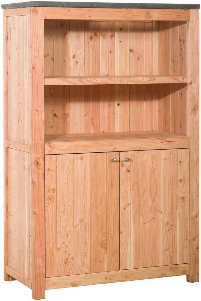 Outdoor-Küche mit Türen (B/T/H: 109/56/168 cm) in natur