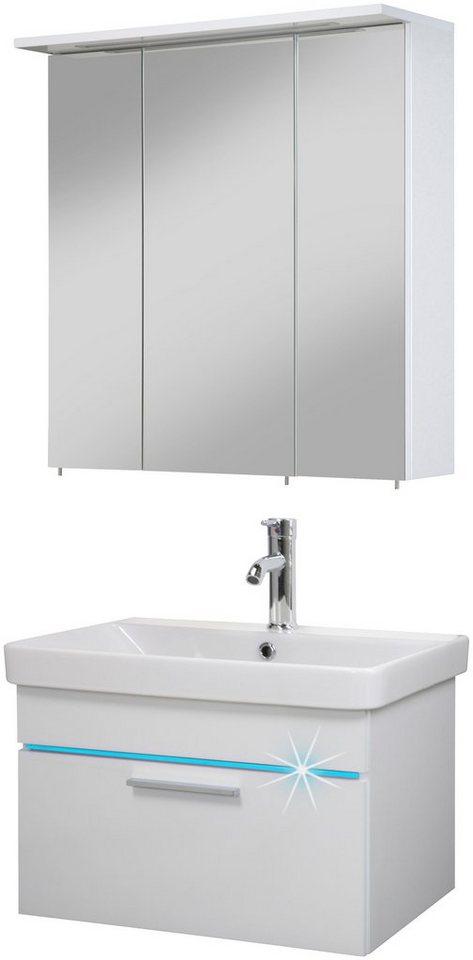 Badmöbel-Set »Polaris LED«, 60 cm, 2-tlg. in weiß