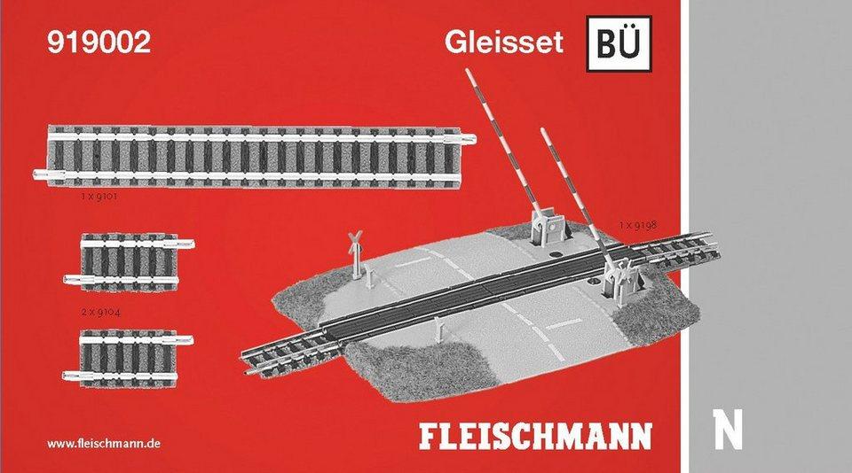 Fleischmann® Digitales Gleisset Bahnübergang, Spurweite N, »BÜ« in gelb