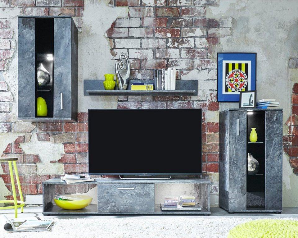 Wohnwand »TTX-14«, 4-tlg. in schieferfarben