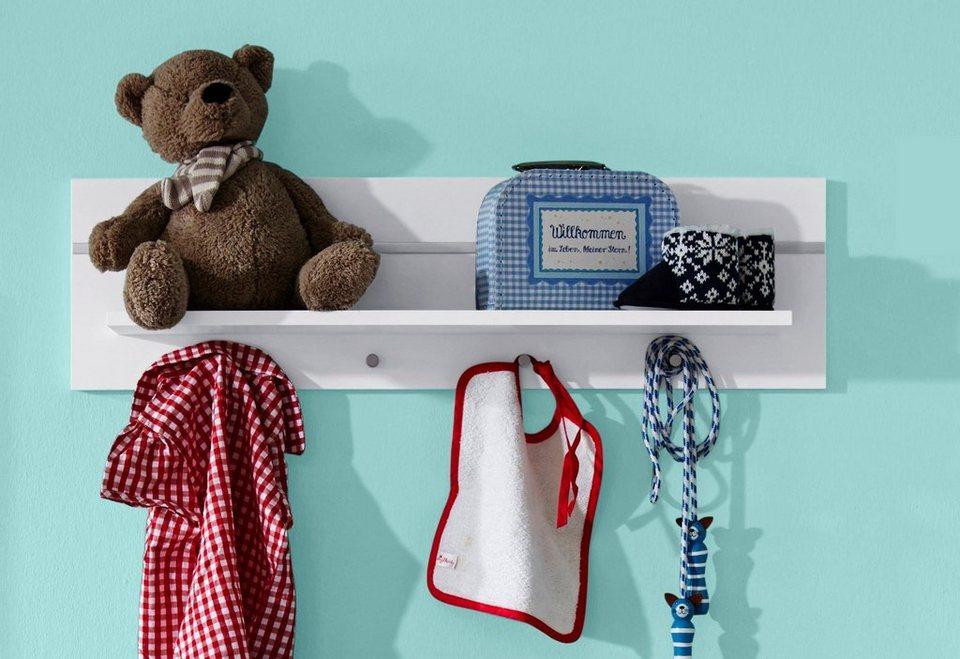 Wandregal / Wandboard passend zur Babymöbel Serie »Classic« in weiß in weiß/ silberfarbig