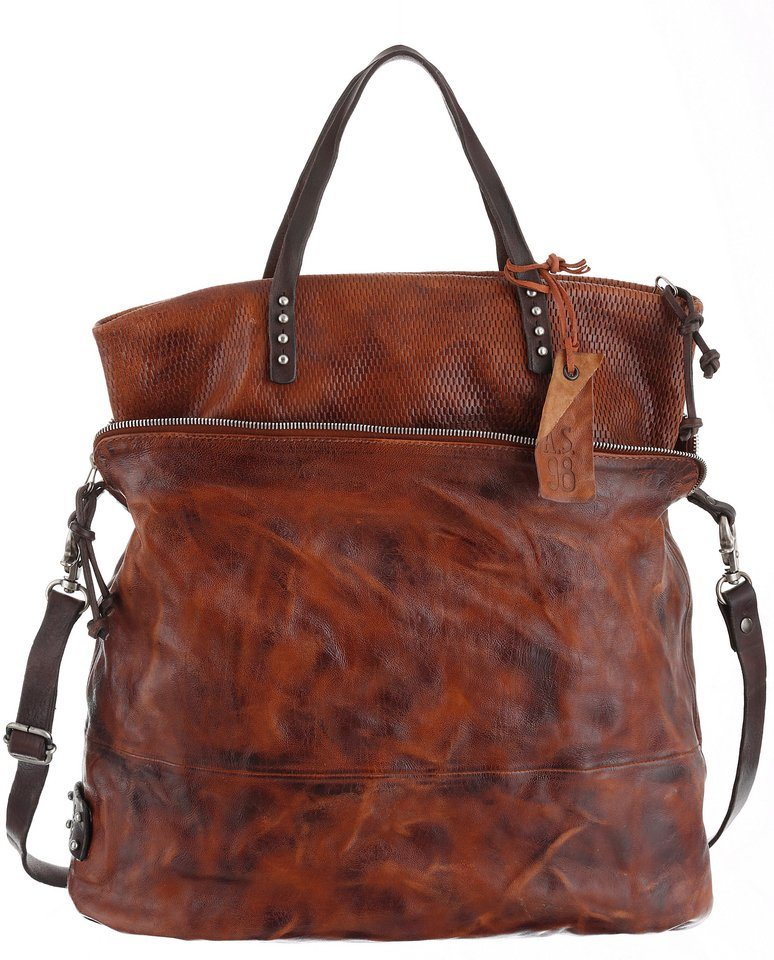 A.S.98 Shopper aus Leder in cognac-used