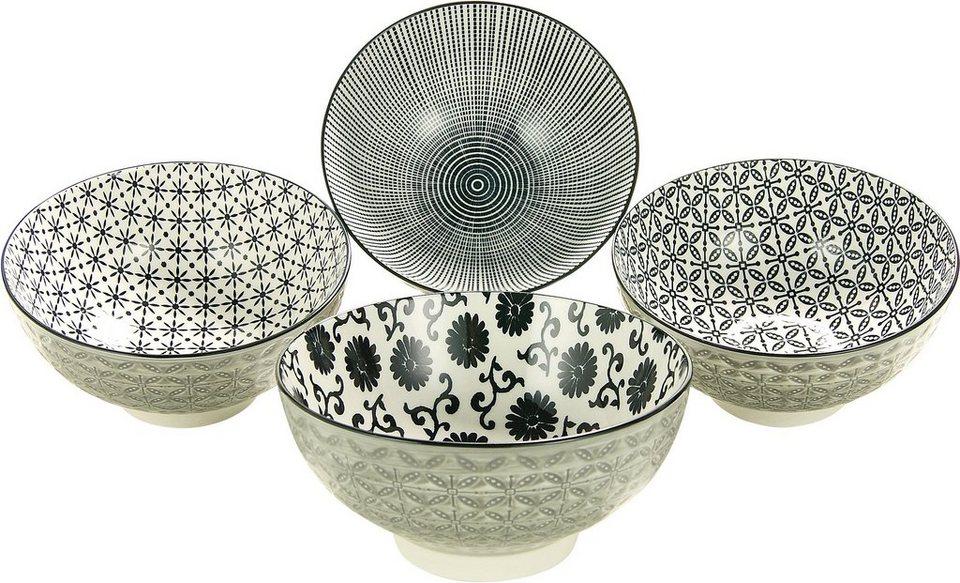 CreaTable Müsli/Salatschalen, Steinzeug, 4-teilig, »New Style black« in schwarz/weiß