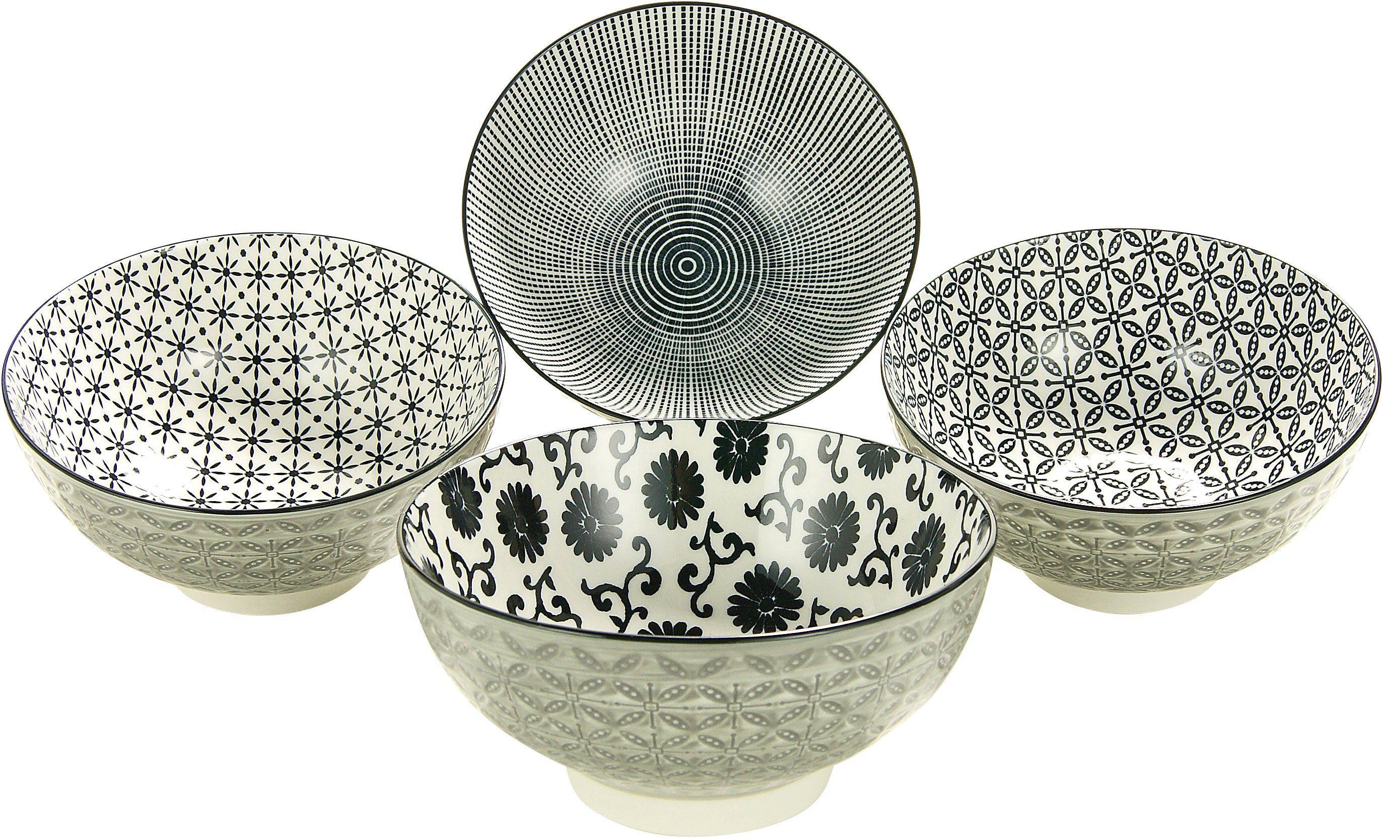 CreaTable Müsli/Salatschalen, Steinzeug, 4-teilig, »New Style black«