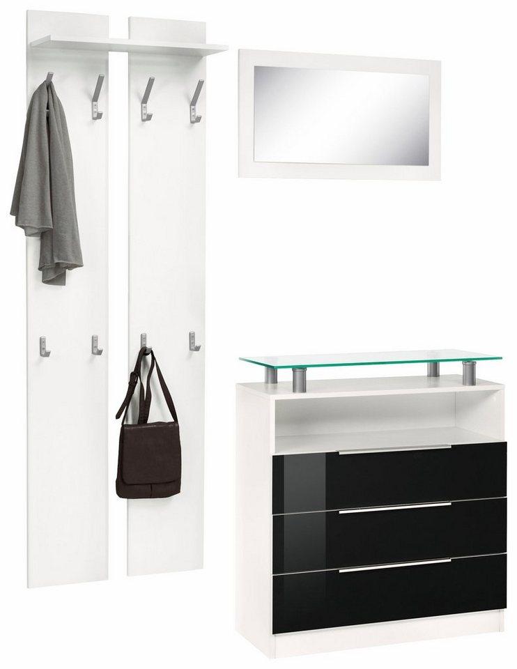 Garderoben-Set »Evo« (3-tlg.) in weiß/schwarz