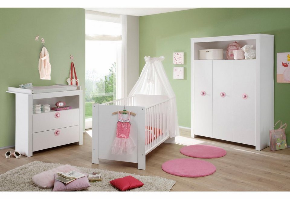 komplett babyzimmer trend babybett wickelkommode kleiderschrank 3 tlg in wei online. Black Bedroom Furniture Sets. Home Design Ideas