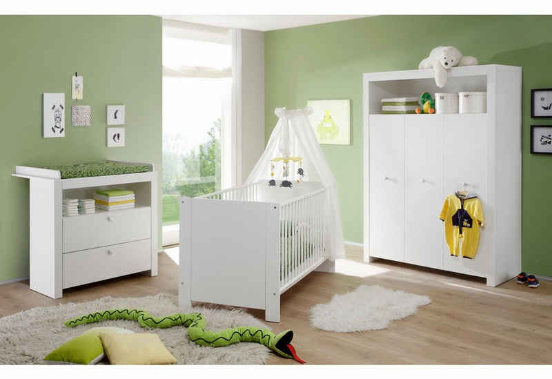 Babyzimmer-Komplettset »Trend«, (Set, 3-St), Bett + Wickelkommode + 3 trg. Schrank