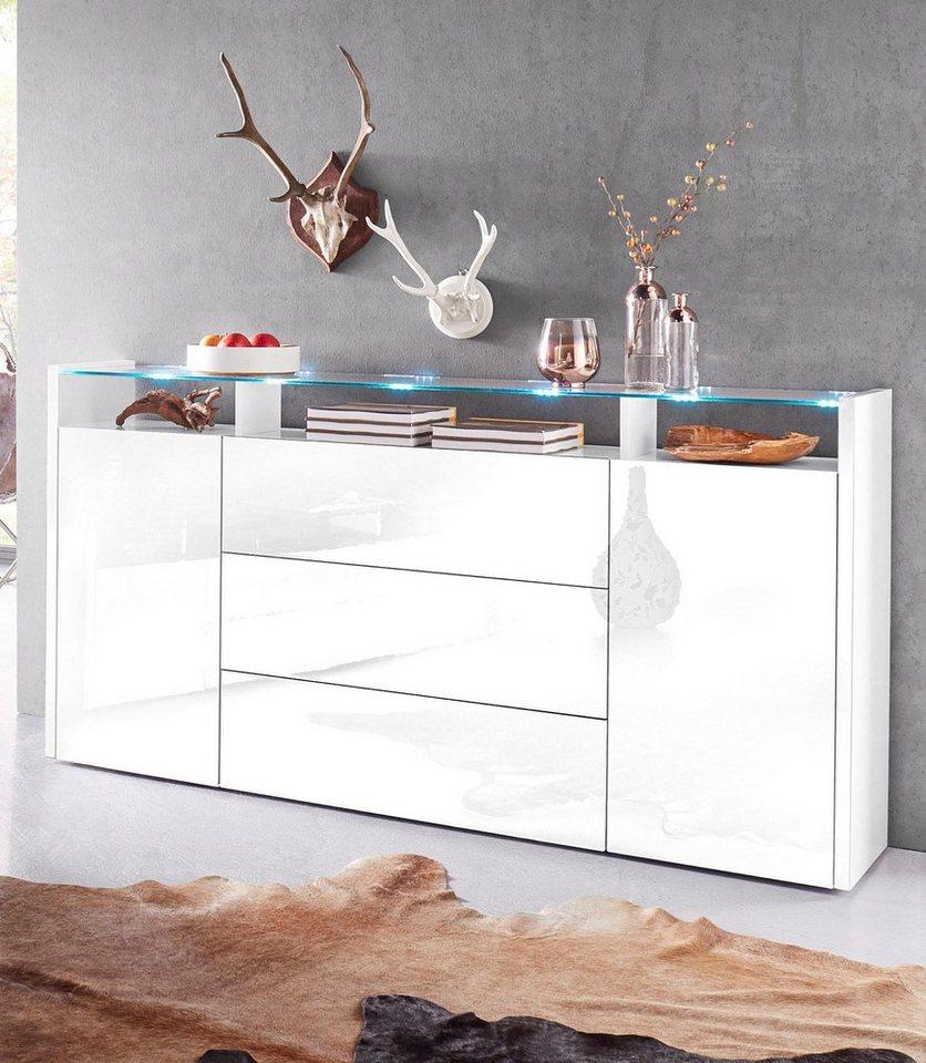 Tecnos Sideboard, Breite 186 cm in weiß Hochglanz
