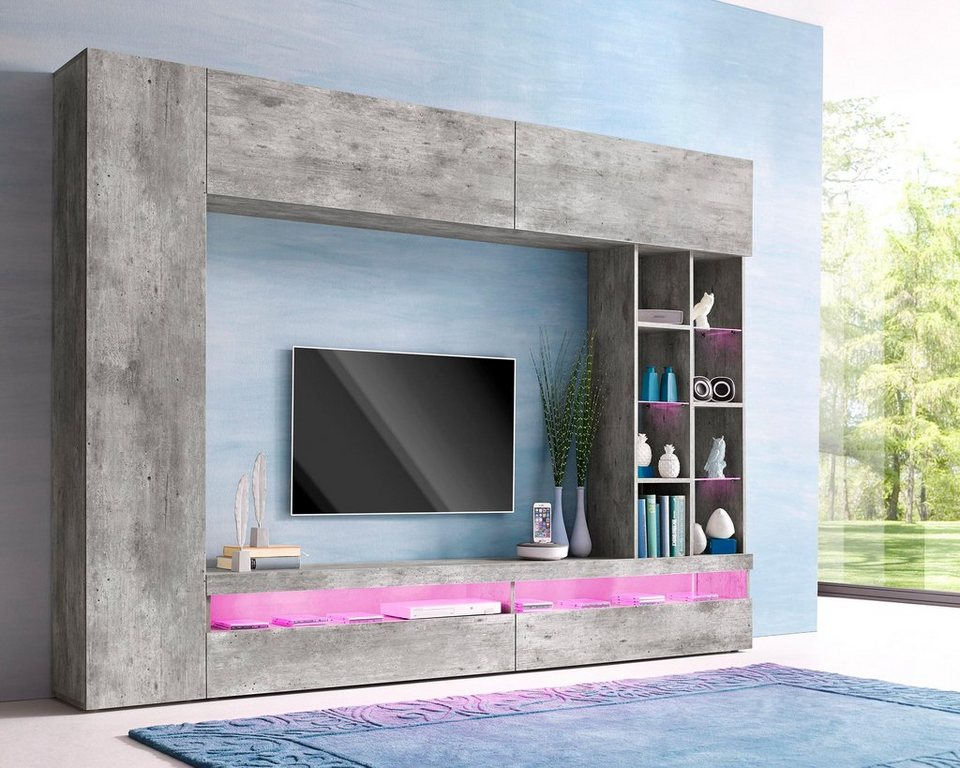 tecnos media wand 4 tlg online kaufen otto. Black Bedroom Furniture Sets. Home Design Ideas