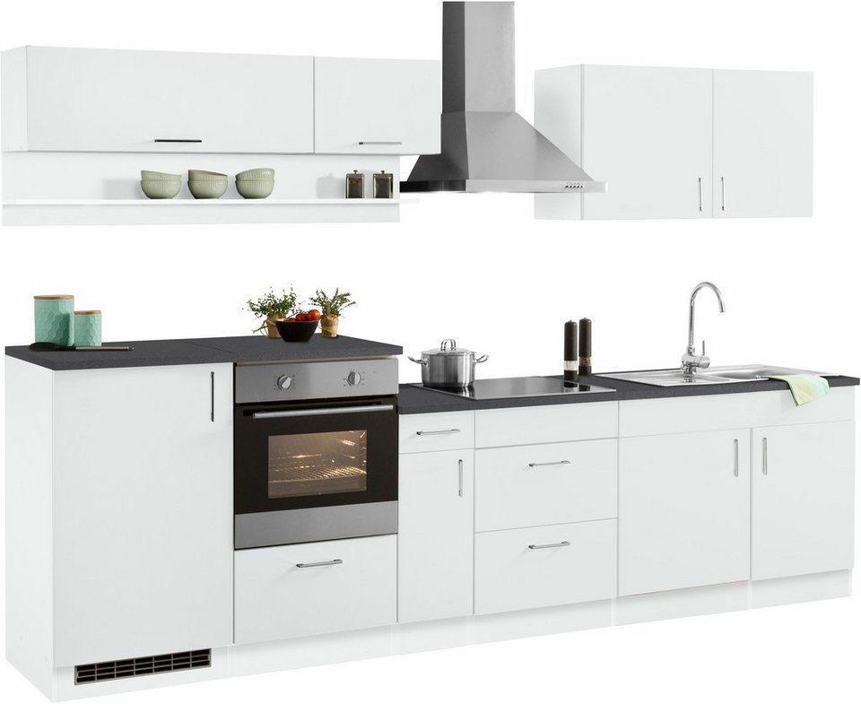 Held Möbel Küchenzeile mit E-Geräten »Tampa«, Breite 310 cm in weiß