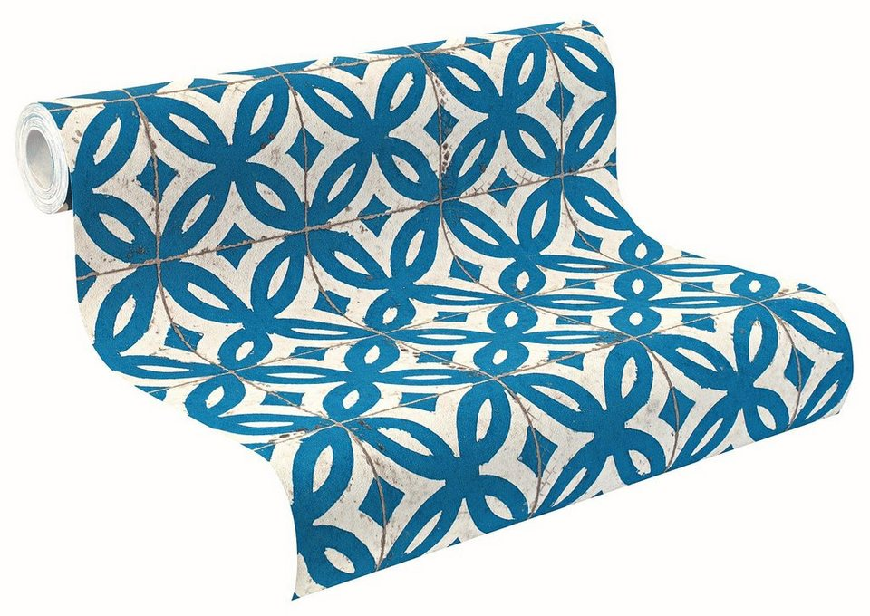 Vliestapete, Rasch, »Crispy Paper 6« in blau