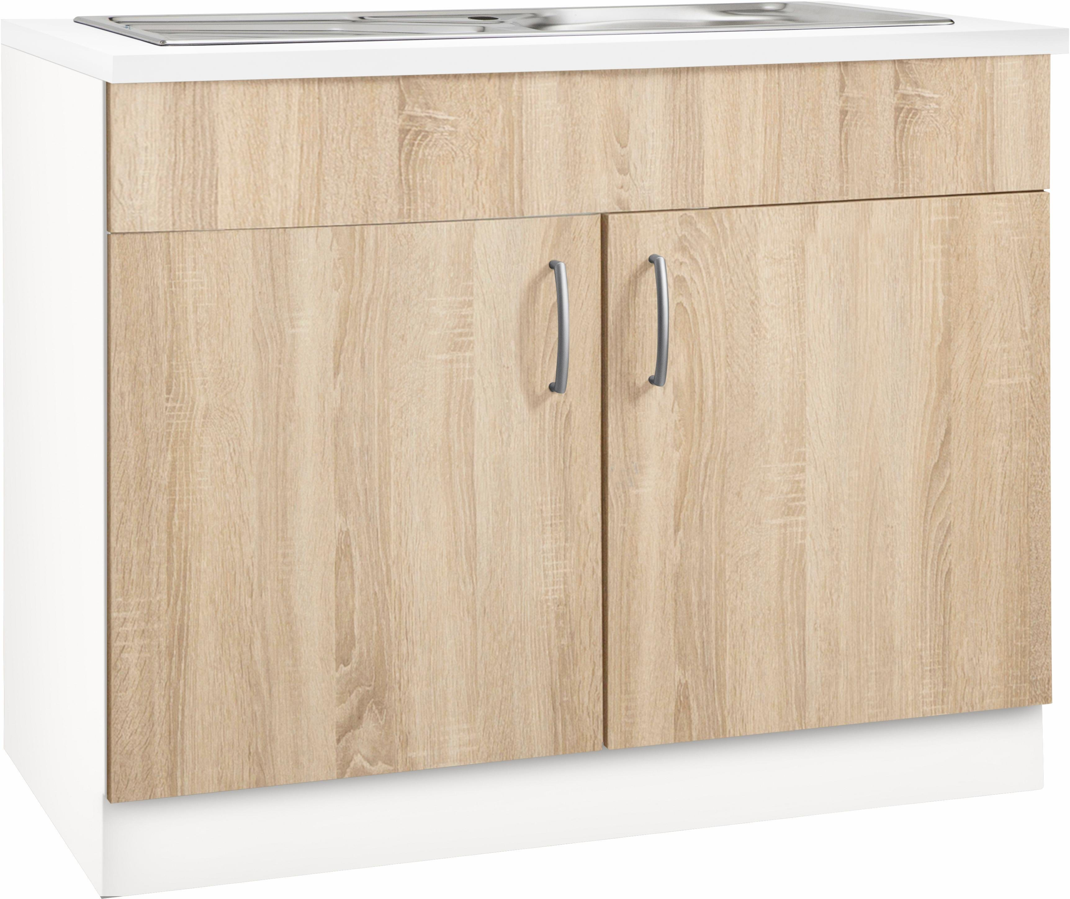 Spülenschrank »Brilon« | Küche und Esszimmer > Küchenschränke > Spülenschränke | Weiß - Glanz | Edelstahl - Melamin | wiho Küchen