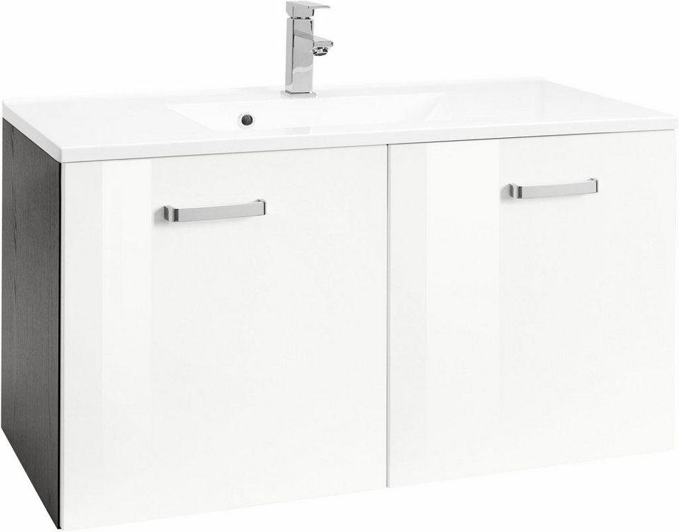 Held Möbel Waschtisch »Ravenna«, Breite 80 cm in grafit/weiß