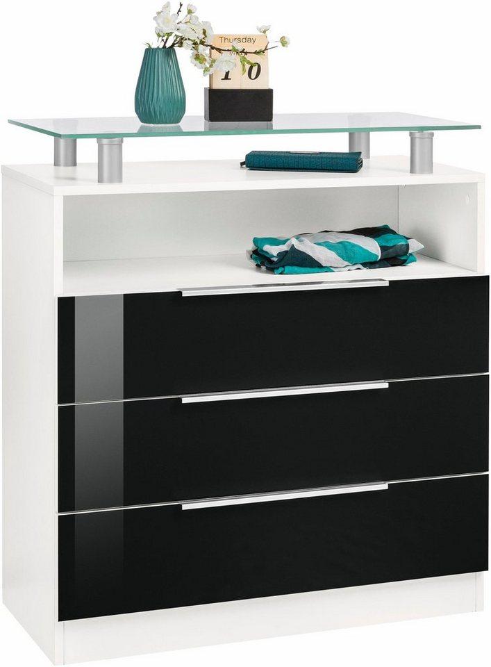 Kommode, »Evo«, Breite 76 cm in weiß/schwarz