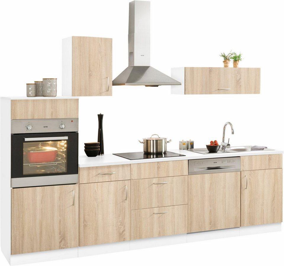 Küchenzeile »Brilon« mit E-Geräten, Breite 280 cm in eichefarben