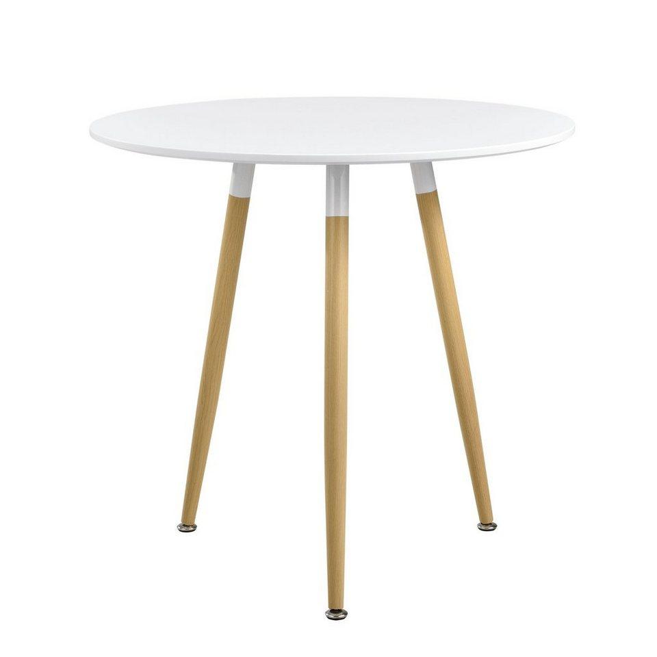 en.casa Esstisch, »Camille« rund [weiß seidenglanz]   Ø 9 cm online kaufen    OTTO
