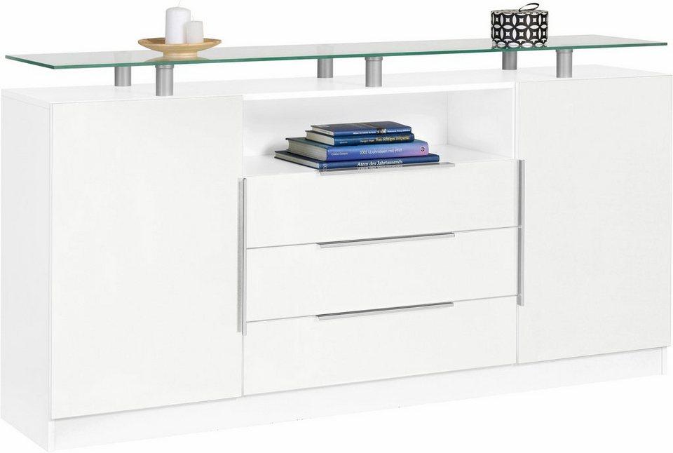 Sideboard »Evo«, Breite 166 cm in weiß/weiß matt