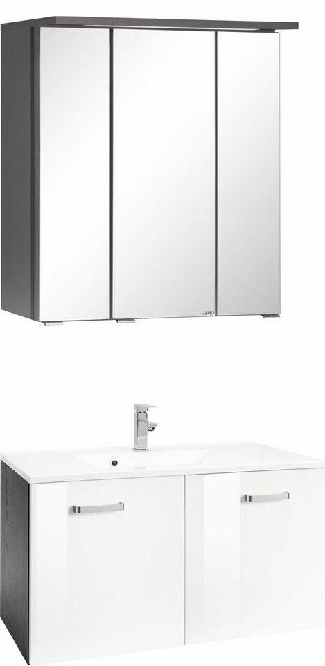 Held Möbel Badmöbel-Set »Ravenna«, Breite 70 cm (2-tlg.) in grafit/weiß