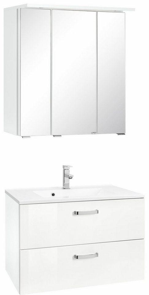 Held Möbel Badmöbel-Set »Ravenna«, Breite 70 cm (2-tlg.) in weiß/weiß