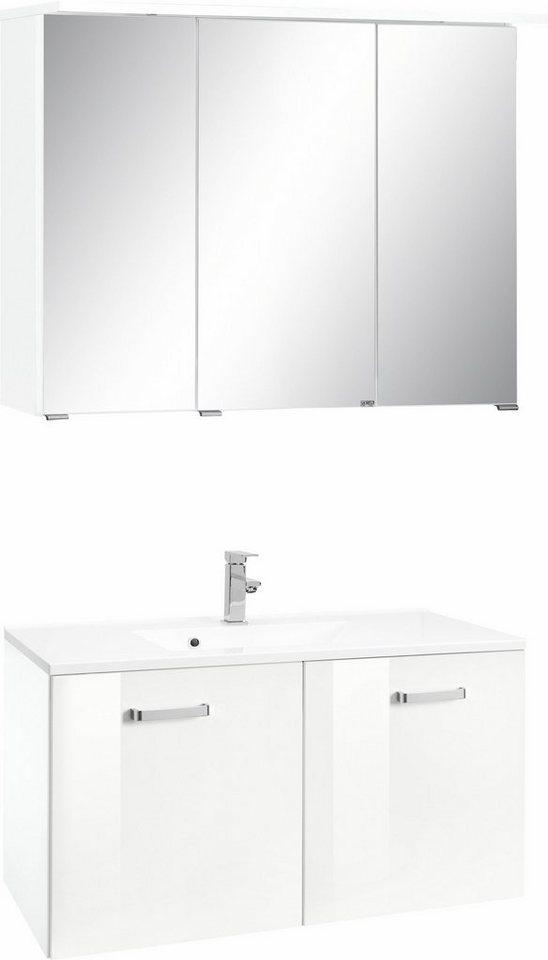 Held Möbel Badmöbel-Set »Ravenna«, Breite 90 cm (2-tlg.) in weiß/weiß