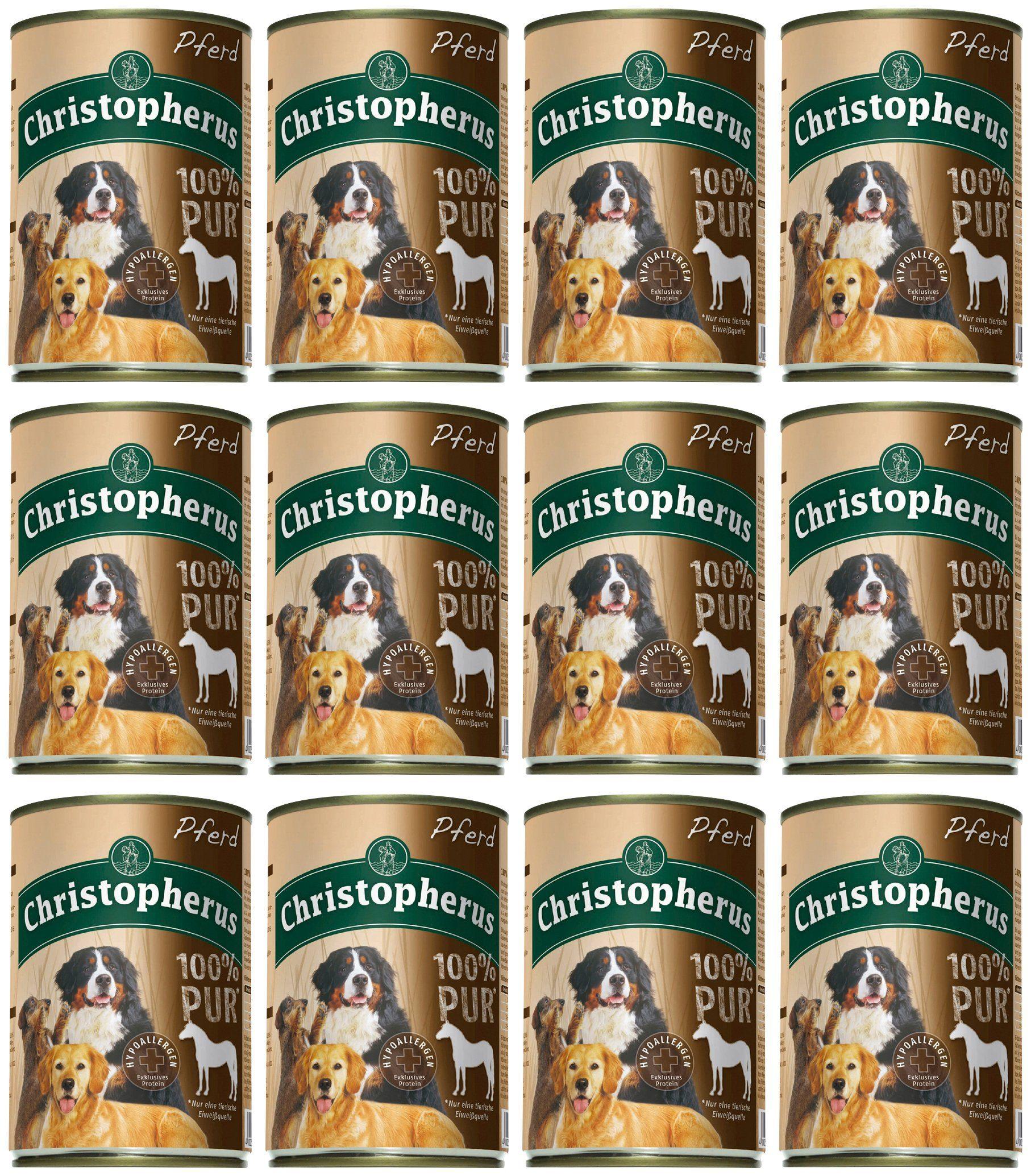 Christopherus Hundenassfutter »100% PUR Pferd«, 12 Dosen á 400 g