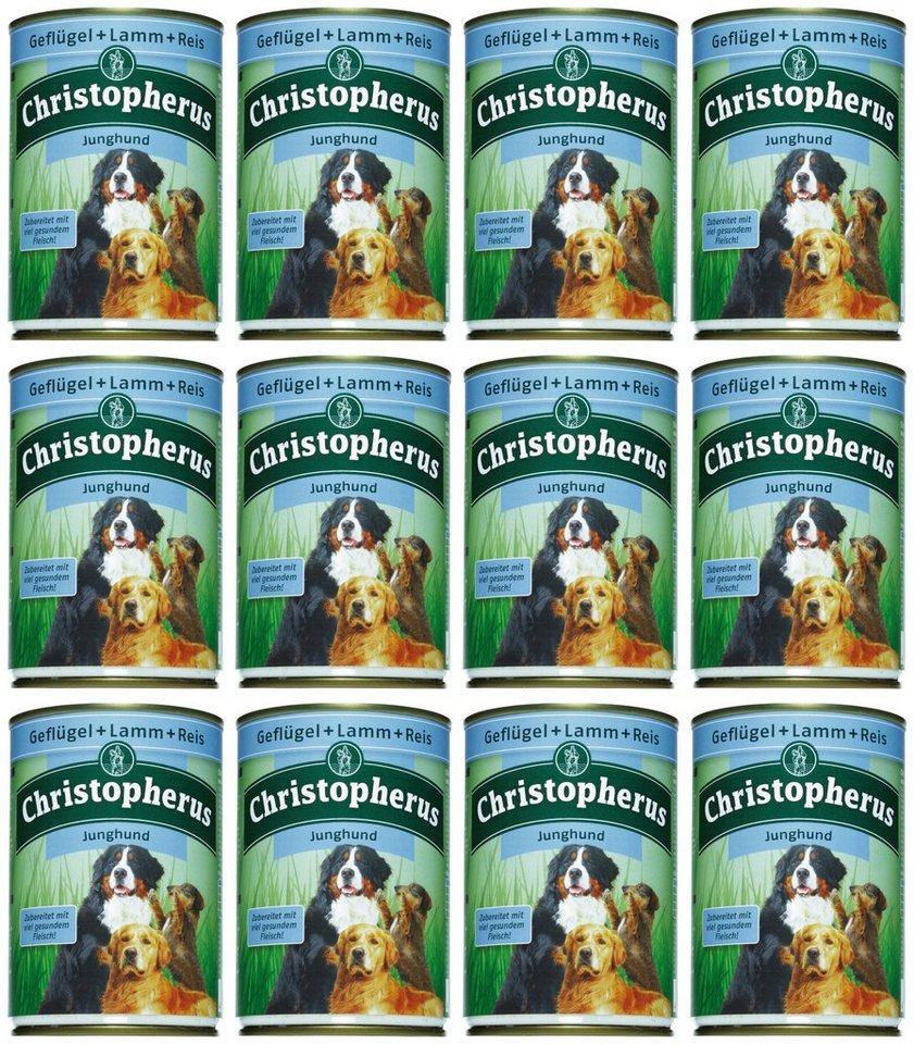 Hundenassfutter »Junghund«, 12 Dosen á 400 g in braun