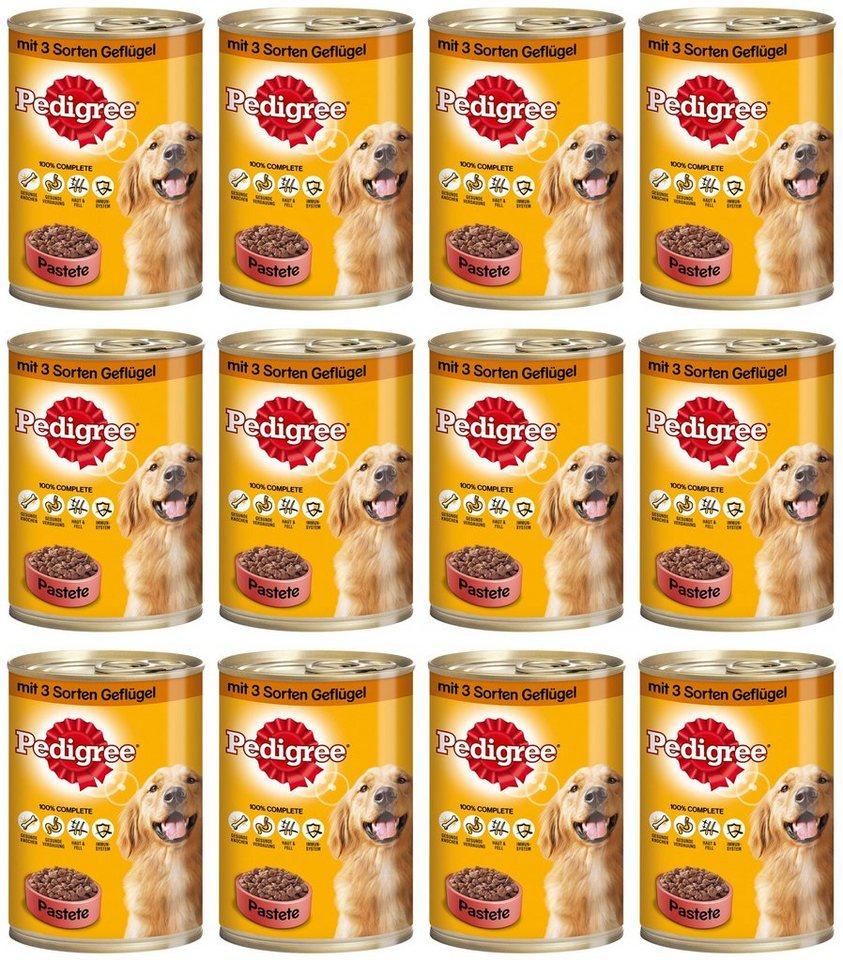 Hundenassfutter »Pastete mit 3 Sorten Geflügel«, 12 Dosen á 400 g in braun