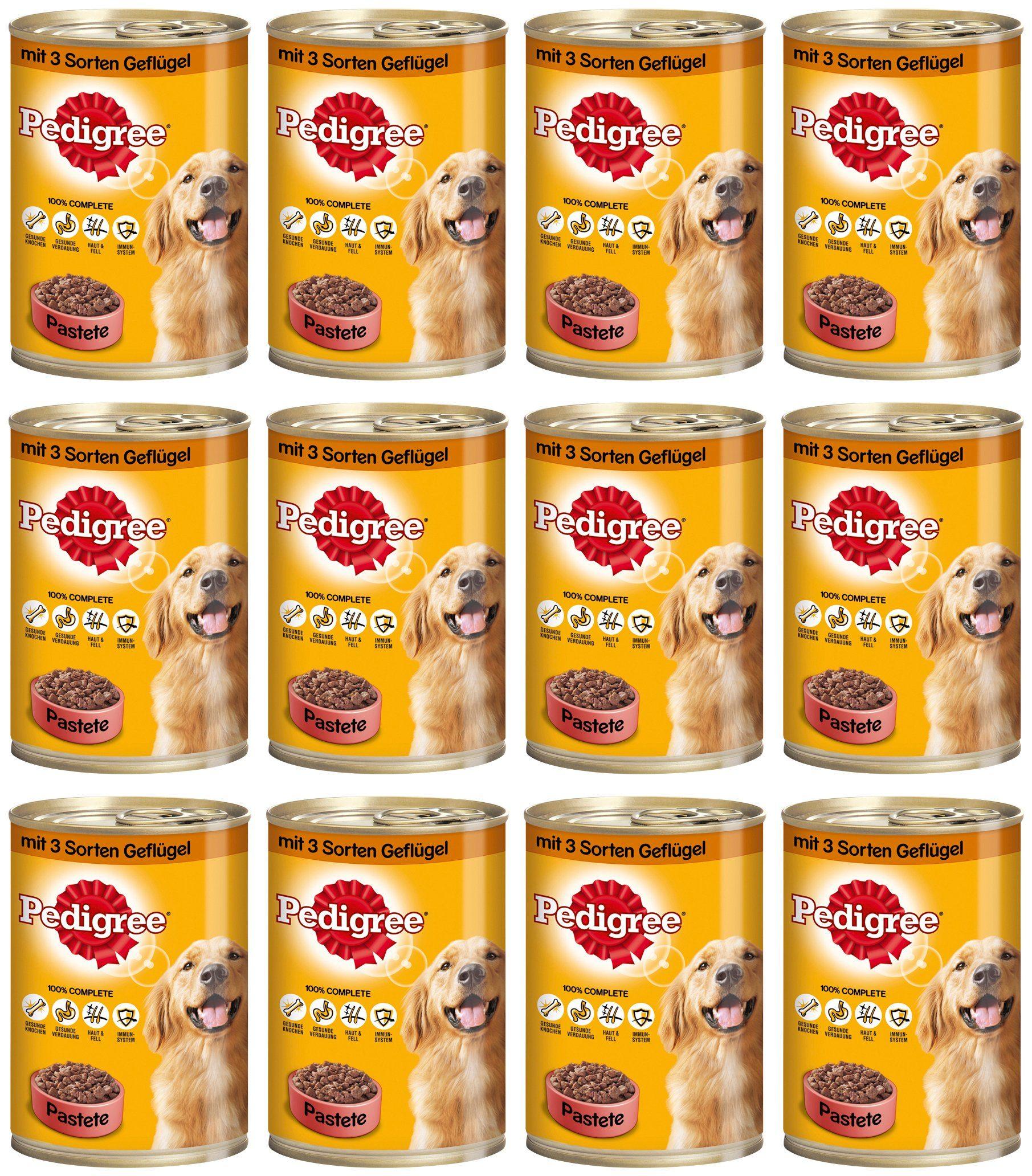 Hundenassfutter »Pastete mit 3 Sorten Geflügel«, 12 Dosen á 400 g