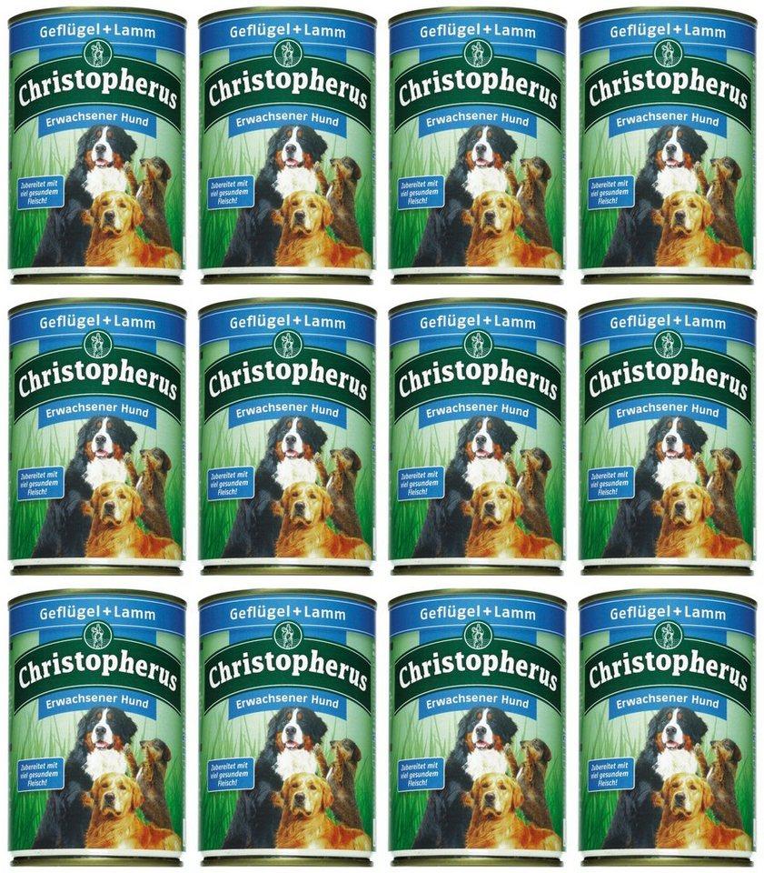 Hundenassfutter »Erwachsener Hund Geflügel+Lamm«, 12 Dosen á 400 g oder 12 Dosen á 800 g in braun