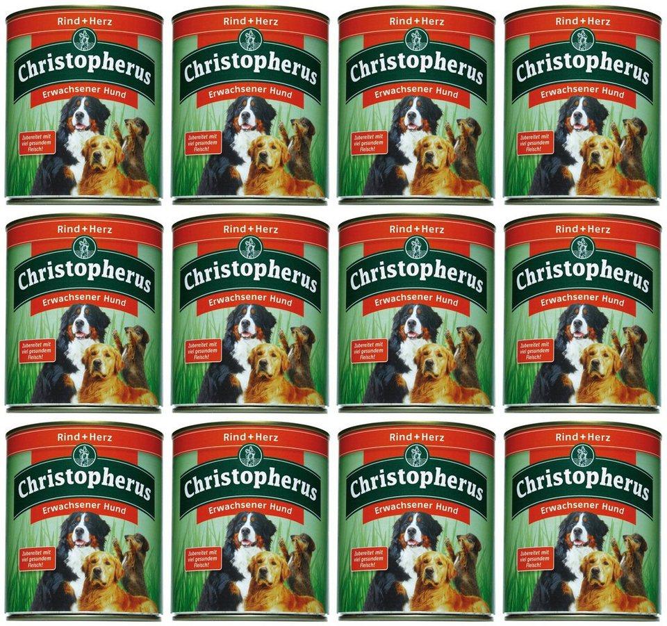 Hundenassfutter »Erwachsener Hund Rind+Herz«, 12 Dosen á 800 g in braun