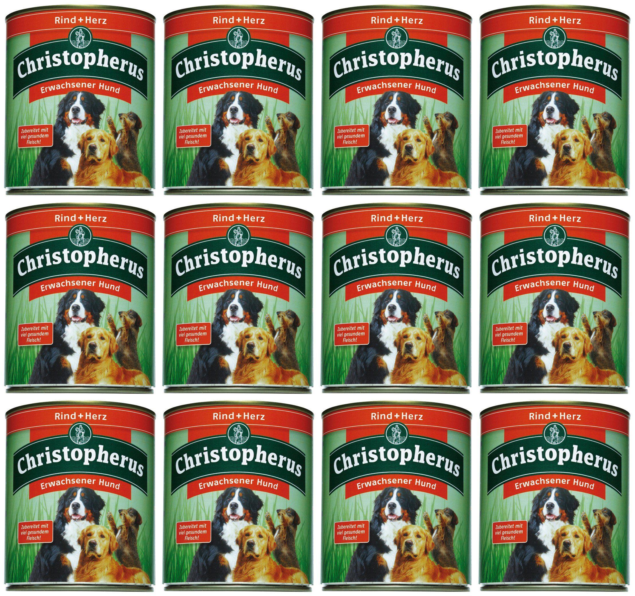 Hundenassfutter »Erwachsener Hund Rind+Herz«, 12 Dosen á 800 g