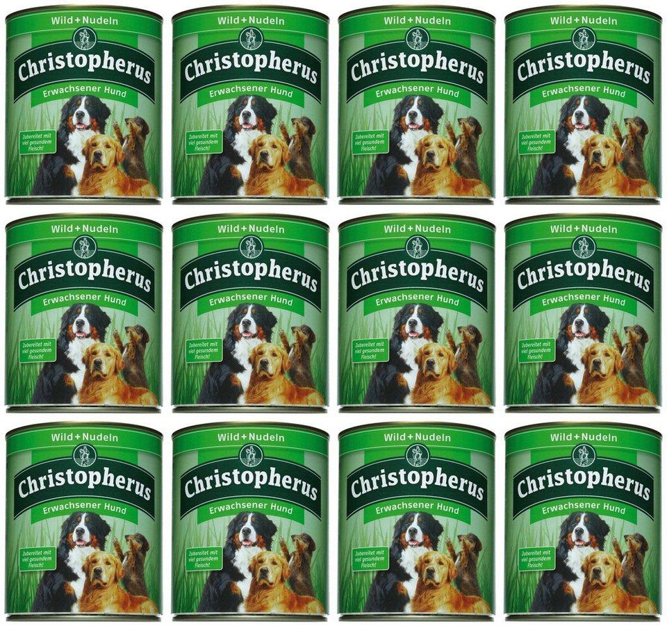 Hundenassfutter »Erwachsener Hund Wild+Nudeln«, 12 Dosen á 400 g oder 12 Dosen á 800 g in braun